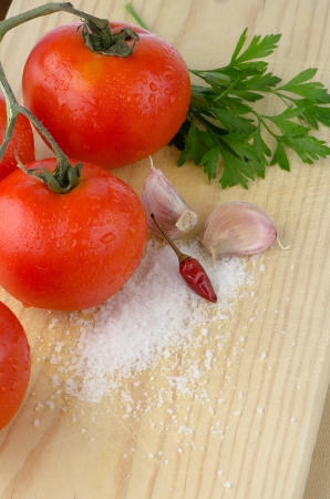 Potravinářské přísady na dubový stůl detailním záběru. Reklamní fotografie - 14412039