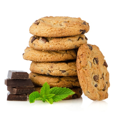 biscuits: Chocolate chip cookies with chocolate parts isolated on white background.