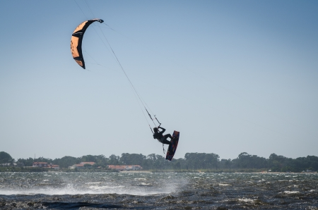 participant: MURTOSA, PORTUGAL - JULY 15: Participant in the Portuguese National Kitesurf Championship 2012 on july 15, 2012 in Murtosa, Portugal.