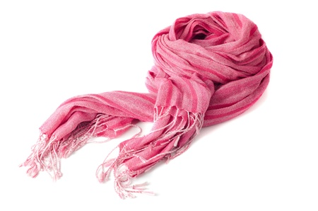 Warm scarf in pink isolated on white background. photo
