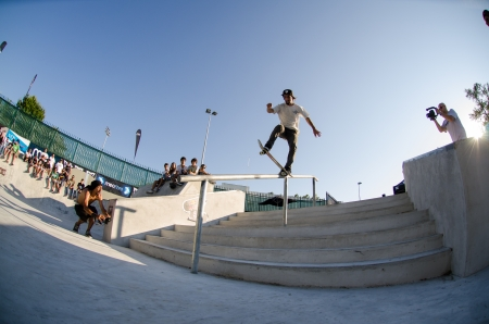 VISEU, PORTUGAL - JULY 22: Renato Aires at DC Skate challenge by MEO on july 22, 2012 in Viseu, Portugal.
