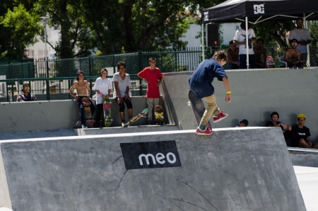VISEU, PORTUGAL - JULY 22: Gabriel Ribeiro at DC Skate challenge by MEO on july 22, 2012 in Viseu, Portugal.