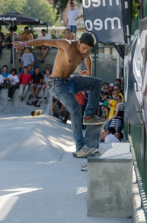 VISEU, PORTUGAL - JULY 22: Pedro Roseiro at DC Skate challenge by MEO on july 22, 2012 in Viseu, Portugal.