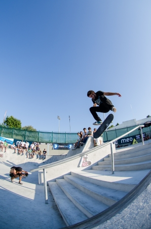 VISEU, PORTUGAL - JULY 22: Ruben Rodrigues at DC Skate challenge by MEO on july 22, 2012 in Viseu, Portugal.