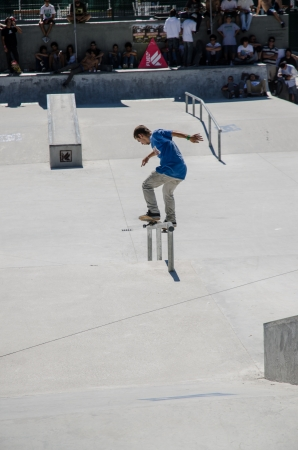VISEU, PORTUGAL - JULY 22: Filipe Mendes at DC Skate challenge by MEO on july 22, 2012 in Viseu, Portugal.