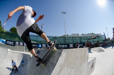 VISEU, PORTUGAL - JULY 22: Francisco Lopez at DC Skate challenge by MEO on july 22, 2012 in Viseu, Portugal.