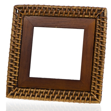 Bamboo weave picture frame on white background photo