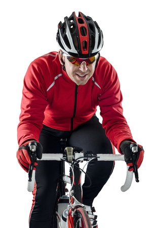 velo: Cyclist riding a bike isolated on white background.
