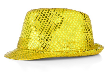 Bright paillette hat on white background. photo