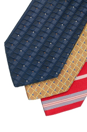 Closeup of three ties isolated on white background  Stock Photo - 15637443