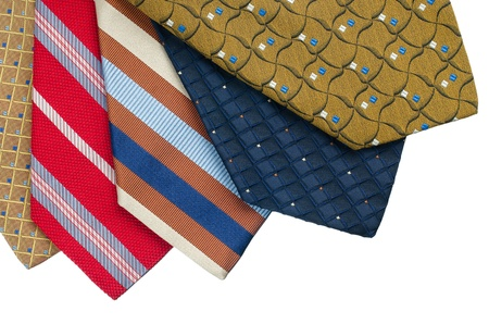 Closeup of five ties isolated on white background. Stock Photo - 15637617