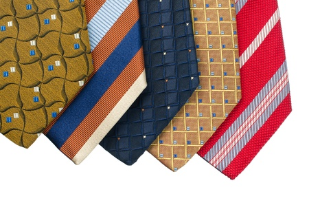 Closeup of five ties isolated on white background. Stock Photo - 15688281