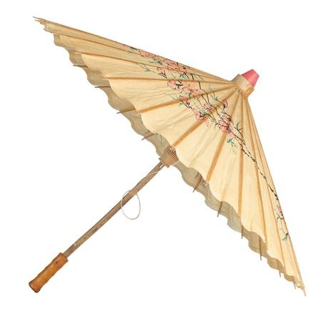 Oriental umbrella isolated on white background.