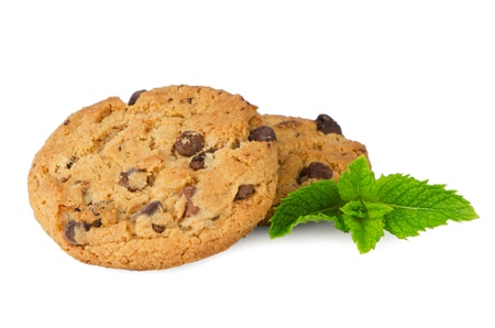 Chocolate cookies with mint leaves isolated on white background. Stock Photo - 15828707