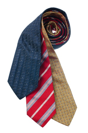 Closeup of three ties isolated on white background. Stock Photo - 15874122