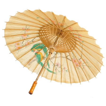 japanese culture: Oriental umbrella isolated on white background.