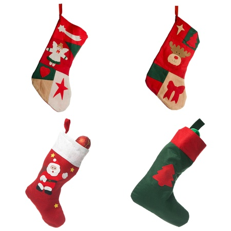 Christmas red stockings. Concept of christmas or holiday. Standard-Bild