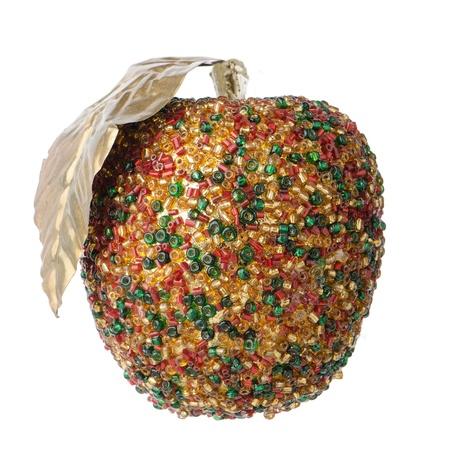 christmas apple: Pallina di Natale appeso decorazione di mela isolato su sfondo bianco.
