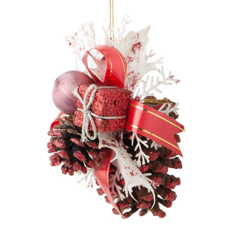 Christmas decorations on white reflective background. photo