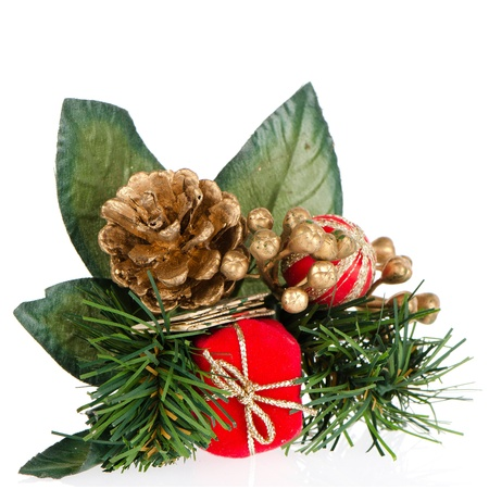 Christmas decorations on white reflective background.