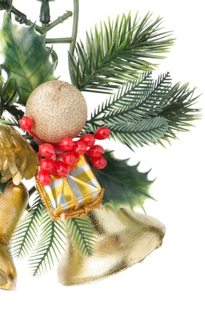 Christmas decorations on white reflective background. Stock Photo - 16291460
