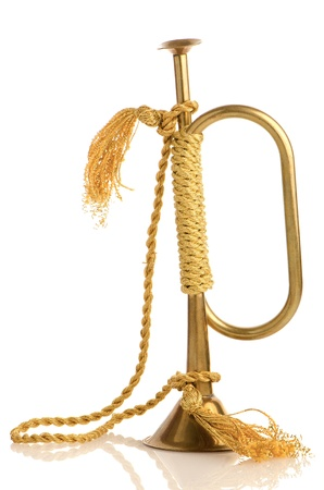 bugle: Antique Bugle isolated on white background.