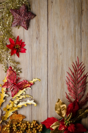 Christmas decorations frame on a wooden board  photo