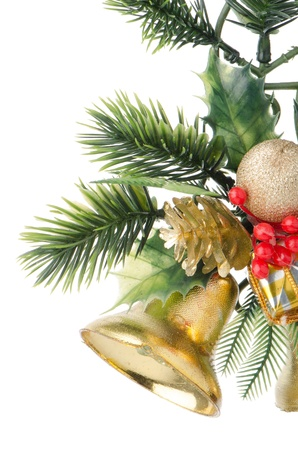 Christmas decorations on white reflective background. Stock Photo - 16766067