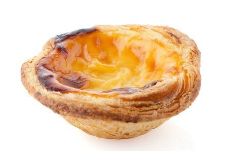 custard flavor: Pastel de nata, typical pastry from Lisbon - Portugal, isolated on white background. Stock Photo