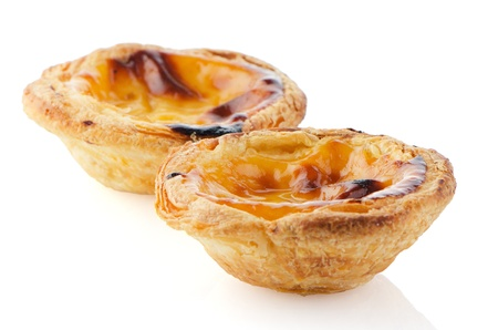 Pasteis de nata, typical pastry from Lisbon - Portugal, isolated on white background. Stock Photo - 16901606
