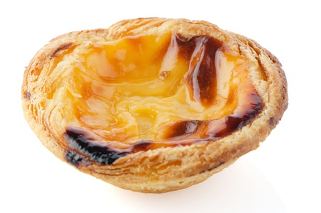 Pastel de nata, typical pastry from Lisbon - Portugal, isolated on white background. photo