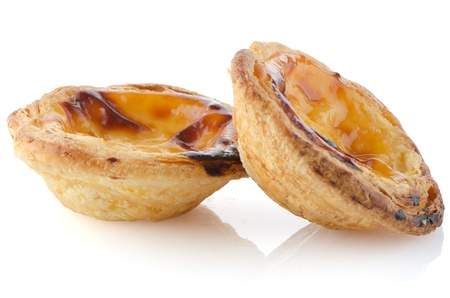 Pasteis de nata, typical pastry from Lisbon - Portugal, isolated on white background. Stock Photo - 17082217