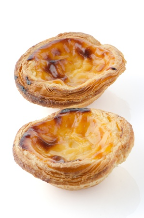 Pasteis de nata, typical pastry from Lisbon - Portugal, isolated on white background. Stock Photo - 17082189