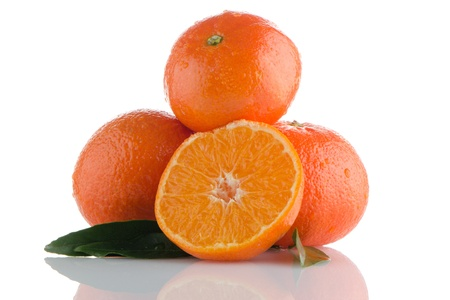 Fresh orange mandarins isolated on a white background. Stock Photo - 17082221