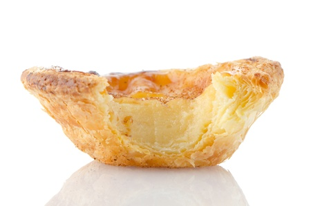 Pastel de nata, typical pastry from Lisbon - Portugal, isolated on white background. Stock Photo - 17180756