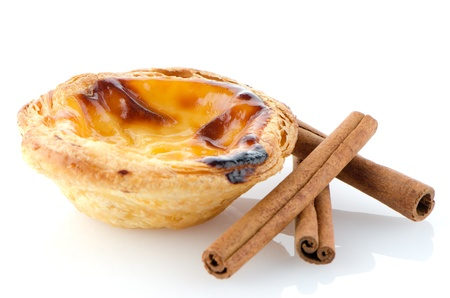 Pastel de nata, typical pastry from Lisbon - Portugal, isolated on white background. Stock Photo - 17447722