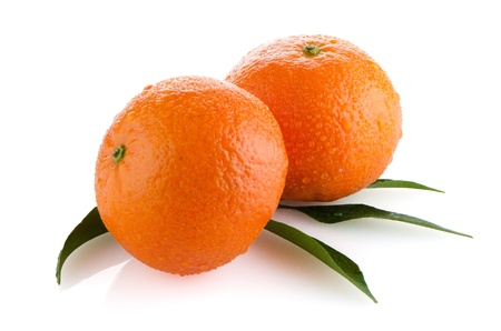 Fresh orange mandarins isolated on a white background. photo