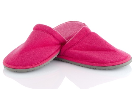 houseshoe: A pair of pink slippers on a white background  Stock Photo