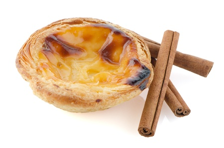 Pastel de nata, typical pastry from Lisbon - Portugal, isolated on white background. Stock Photo - 17542799