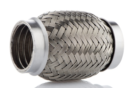 exhaust system: Flexible tube connection to the car exhaust system on white background. Stock Photo