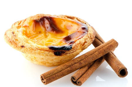nata: Pastel de nata, typical pastry from Lisbon - Portugal, isolated on white background. Stock Photo