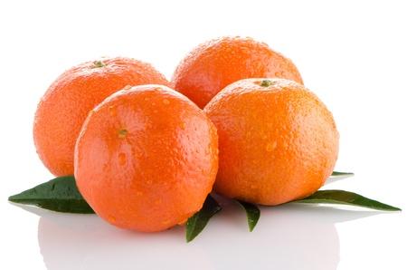 tangerine peel: Ripe tangerines or mandarin isolated on white background Stock Photo