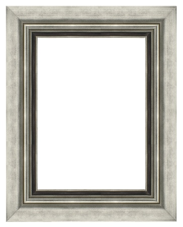 silver picture frame: Stylish Silver Frame isolated on white background.