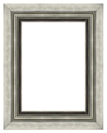 Stylish Silver Frame isolated on white background.