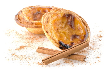 Pasteis de nata, typical pastry from Lisbon - Portugal, isolated on white background. Stock Photo - 17981677