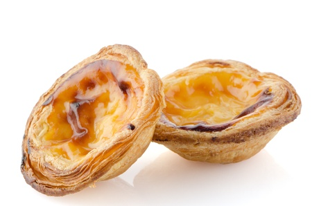 Pasteis de nata, typical pastry from Lisbon - Portugal, isolated on white background. photo