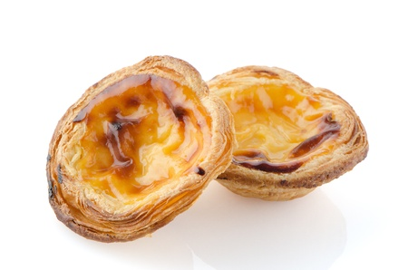 Pasteis de nata, typical pastry from Lisbon - Portugal, isolated on white background  photo