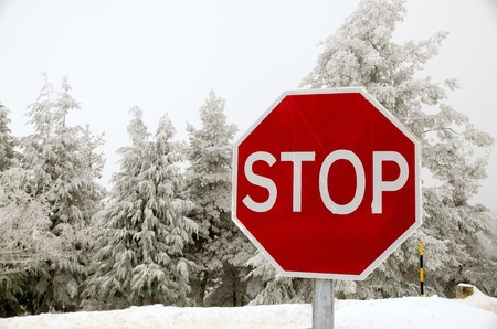 stop time: Stop road sign in snowy day in winter. Stock Photo