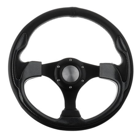 vehicle accessory: Black steering wheel isolated on withe background.