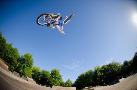 High BMX jump in a skate park. photo